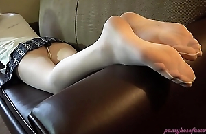 Heather White Pantyhose Footplay and Footjob
