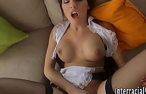 Maid jizzed by black cock