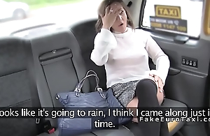 Busty tourist bangs in British fake taxi